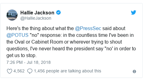 """Twitter post by @HallieJackson: Here's the thing about what the @PressSec said about @POTUS """"no"""" response  in the countless time I've been in the Oval or Cabinet Room or wherever trying to shout questions, I've never heard the president say """"no' in order to get us to stop."""