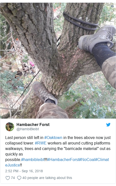 "Twitter post by @HambiBleibt: Last person still left in #Oaktown in the trees above now just collapsed tower. #RWE workers all around cutting platforms walkways, trees and carrying the ""barricade material"" out as quickly as possible.#hambibleibt!!!#HambacherForst#NoCoal#ClimateJustice!!"