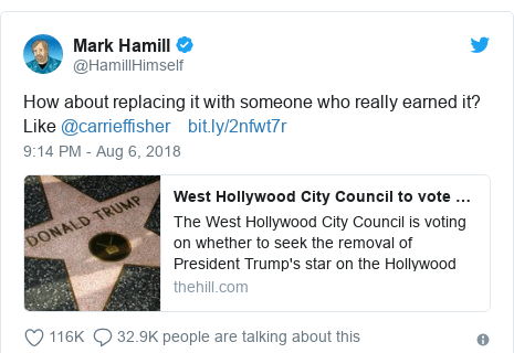 Twitter post by @HamillHimself: How about replacing it with someone who really earned it? Like @carrieffisher