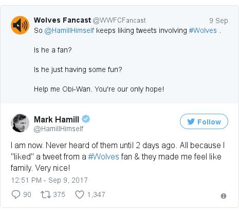 Twitter post by @HamillHimself