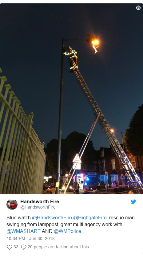 Twitter post by @HandsworthFire: Blue watch @HandsworthFire @HighgateFire  rescue man swinging from lamppost, great multi agency work with @WMASHART AND @WMPolice