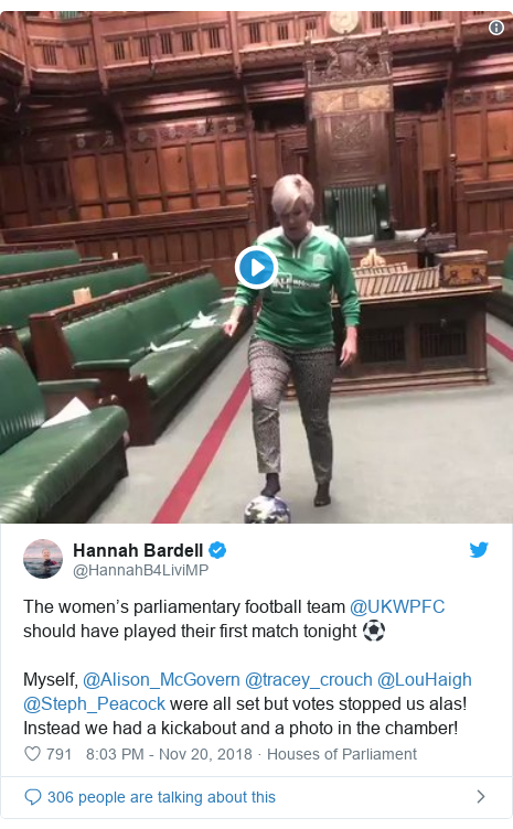 Twitter post by @HannahB4LiviMP: The women's parliamentary football team @UKWPFC should have played their first match tonight ⚽️Myself, @Alison_McGovern @tracey_crouch @LouHaigh @Steph_Peacock were all set but votes stopped us alas! Instead we had a kickabout and a photo in the chamber!