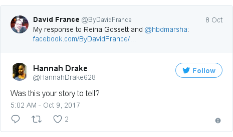 Twitter post by @HannahDrake628: Was this your story to tell?