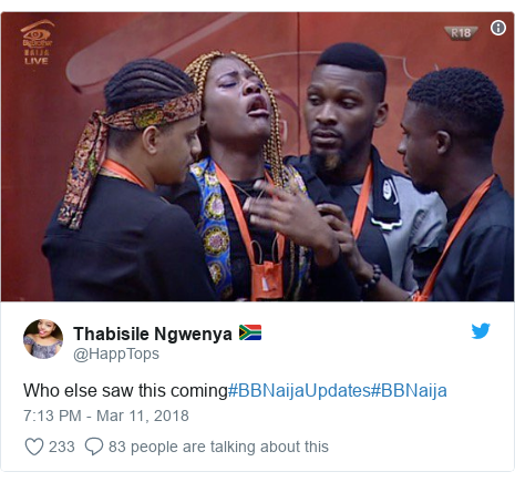 Twitter post by @HappTops: Who else saw this coming#BBNaijaUpdates#BBNaija