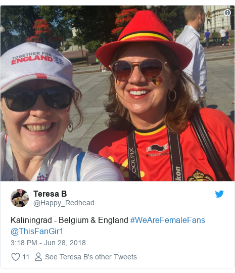 Twitter post by @Happy_Redhead: Kaliningrad - Belgium & England #WeAreFemaleFans @ThisFanGir1