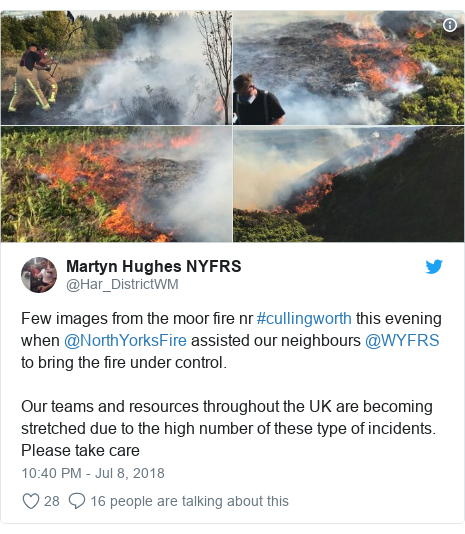 Twitter post by @Har_DistrictWM: Few images from the moor fire nr #cullingworth this evening when @NorthYorksFire assisted our neighbours @WYFRS to bring the fire under control. Our teams and resources throughout the UK are becoming stretched due to the high number of these type of incidents.  Please take care