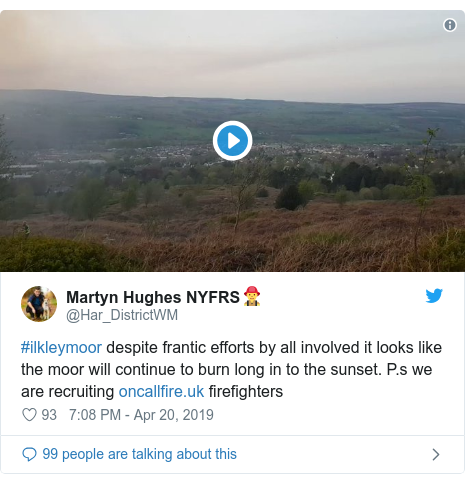 Twitter post by @Har_DistrictWM: #ilkleymoor despite frantic efforts by all involved it looks like the moor will continue to burn long in to the sunset. P.s we are recruiting  firefighters