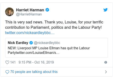 Twitter post by @HarrietHarman: This is very sad news. Thank you, Louise, for your terrific contribution to Parliament, politics and the Labour Party!