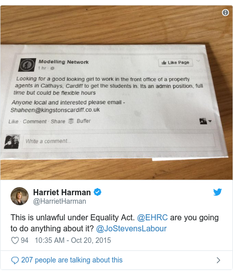 Twitter post by @HarrietHarman: This is unlawful under Equality Act. @EHRC are you going to do anything about it? @JoStevensLabour