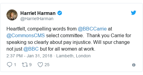 Twitter post by @HarrietHarman: Heartfelt, compelling words from @BBCCarrie at @CommonsCMS select committee.  Thank you Carrie for speaking so clearly about pay injustice. Will spur change not just @BBC but for all women at work.