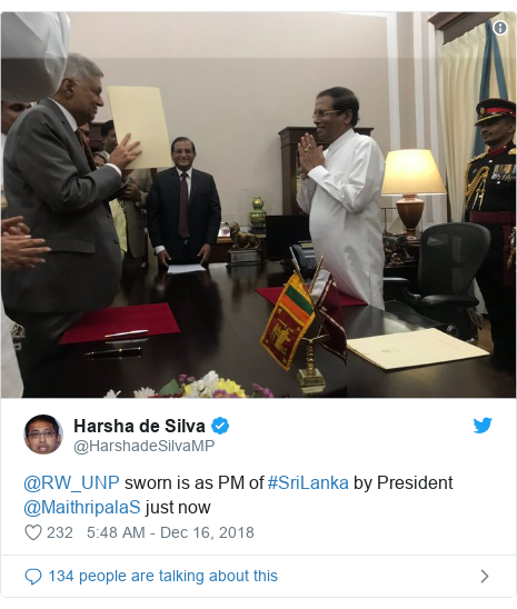 Twitter post by @HarshadeSilvaMP: @RW_UNP sworn is as PM of #SriLanka by President @MaithripalaS just now