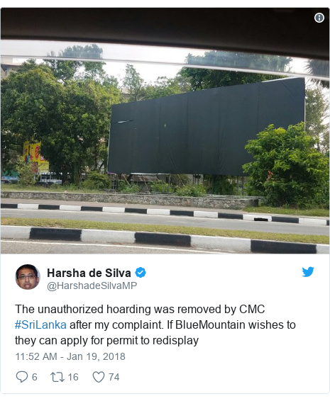 Twitter හි @HarshadeSilvaMP කළ පළකිරීම: The unauthorized hoarding was removed by CMC #SriLanka after my complaint. If BlueMountain wishes to they can apply for permit to redisplay