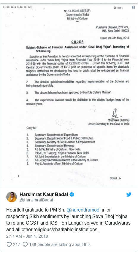 Twitter post by @HarsimratBadal_: Heartfelt gratitude to PM Sh. @narendramodi ji for respecting Sikh sentiments by launching Seva Bhoj Yojna to refund CGST and IGST on Langar served in Gurudwaras and all other religious/charitable institutions.