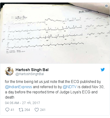 Twitter post by @HartoshSinghBal: for the time being let us just note that the ECG published by @IndianExpress and referred to by @NDTV is dated Nov 30, a day before the reported time of Judge Loya's ECG and death