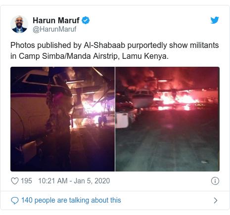 Twitter ubutumwa bwa @HarunMaruf: Photos published by Al-Shabaab purportedly show militants in Camp Simba/Manda Airstrip, Lamu Kenya.