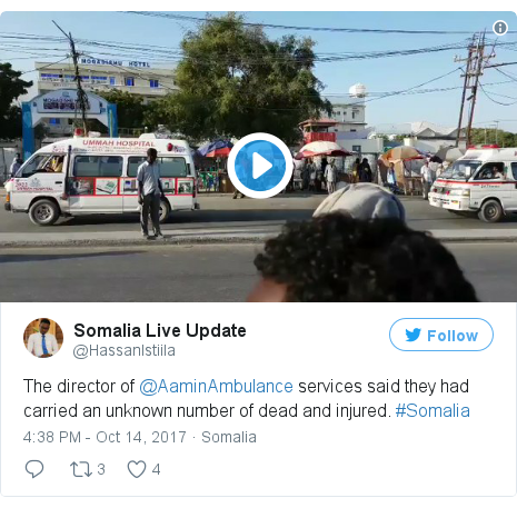 د @HassanIstiila په مټ ټویټر  تبصره : The director of @AaminAmbulance services said they had carried an unknown number of dead and injured. #Somalia
