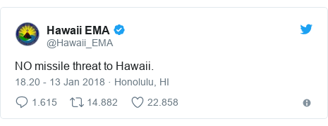 Twitter pesan oleh @Hawaii_EMA: NO missile threat to Hawaii.