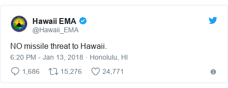 Twitter post by @Hawaii_EMA: NO missile threat to Hawaii.