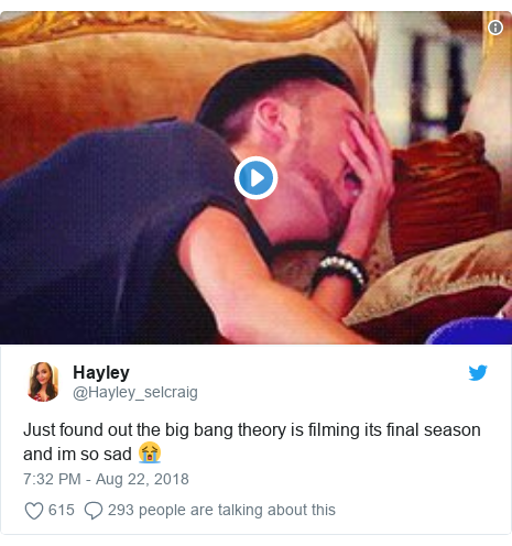 Twitter post by @Hayley_selcraig: Just found out the big bang theory is filming its final season and im so sad 😭