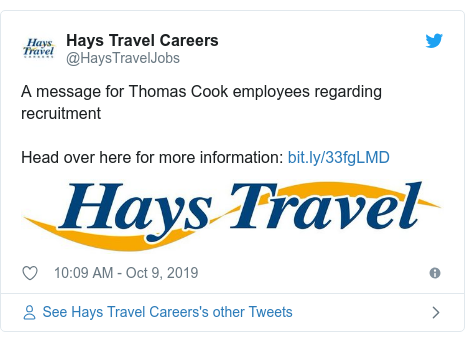 Twitter post by @HaysTravelJobs: A message for Thomas Cook employees regarding recruitmentHead over here for more information
