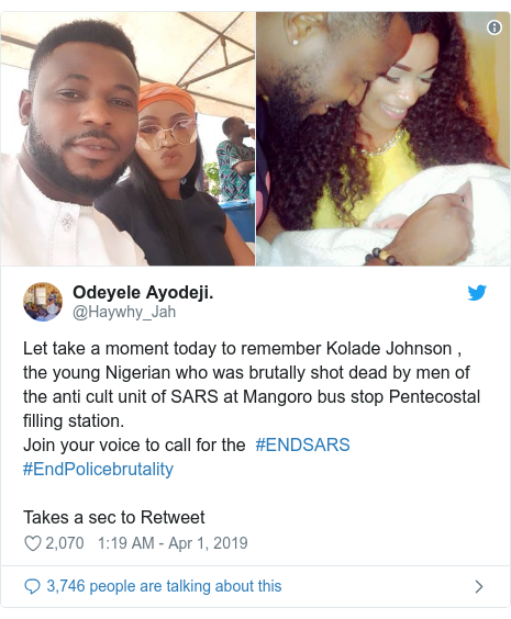 Twitter post by @Haywhy_Jah: Let take a moment today to remember Kolade Johnson , the young Nigerian who was brutally shot dead by men of the anti cult unit of SARS at Mangoro bus stop Pentecostal filling station. Join your voice to call for the  #ENDSARS #EndPolicebrutality Takes a sec to Retweet