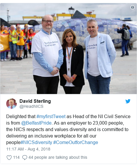 Twitter post by @HeadNICS: Delighted that #myfirstTweet as Head of the NI Civil Service is from @BelfastPride. As an employer to 23,000 people, the NICS respects and values diversity and is committed to delivering an inclusive workplace for all our people#NICSdiversity #ComeOutforChange