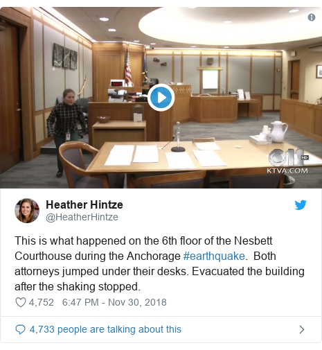 Twitter post by @HeatherHintze: This is what happened on the 6th floor of the Nesbett Courthouse during the Anchorage #earthquake.  Both attorneys jumped under their desks. Evacuated the building after the shaking stopped.