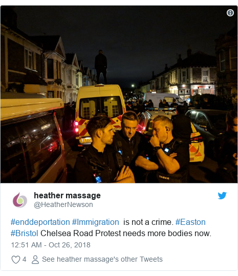 Twitter post by @HeatherNewson: #enddeportation #Immigration  is not a crime. #Easton #Bristol Chelsea Road Protest needs more bodies now.