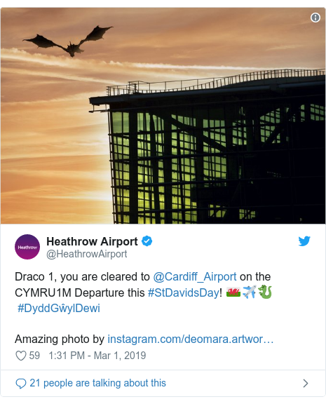 Twitter post by @HeathrowAirport: Draco 1, you are cleared to @Cardiff_Airport on the CYMRU1M Departure this #StDavidsDay! 🏴✈️🐉#DyddGŵylDewiAmazing photo by