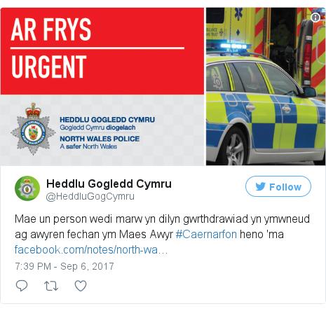 Neges Twitter gan @HeddluGogCymru: Mae un person wedi marw yn dilyn gwrthdrawiad yn ymwneud ag awyren fechan ym Maes Awyr #Caernarfon heno 'ma https //t.co/vxXc87qkfe pic.twitter.com/KLs9FUoJaJ