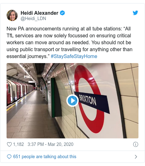 """Twitter post by @Heidi_LDN: New PA announcements running at all tube stations  """"All TfL services are now solely focussed on ensuring critical workers can move around as needed. You should not be using public transport or travelling for anything other than essential journeys."""" #StaySafeStayHome"""
