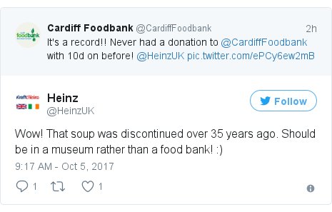 Twitter post by @HeinzUK: Wow! That soup was discontinued over 35 years ago. Should be in a museum rather than a food bank!  )