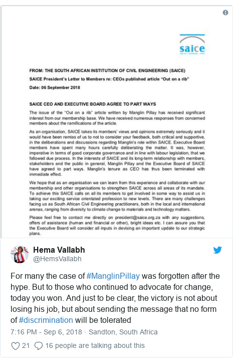 Twitter post by @HemsVallabh: For many the case of #ManglinPillay was forgotten after the hype. But to those who continued to advocate for change, today you won. And just to be clear, the victory is not about losing his job, but about sending the message that no form of #discrimination will be tolerated
