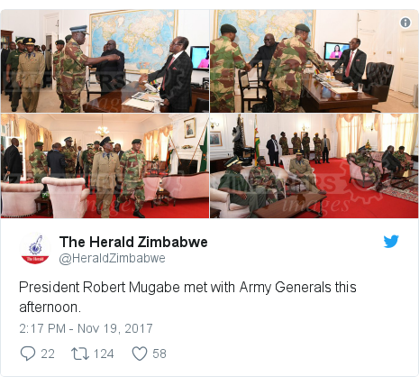 Twitter post by @HeraldZimbabwe: President Robert Mugabe met with Army Generals this afternoon.