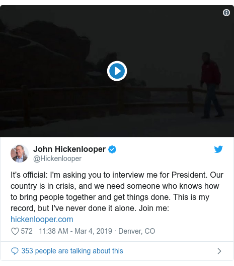 Twitter post by @Hickenlooper: It's official  I'm asking you to interview me for President. Our country is in crisis, and we need someone who knows how to bring people together and get things done. This is my record, but I've never done it alone. Join me