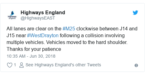 Twitter post by @HighwaysEAST: All lanes are clear on the #M25 clockwise between J14 and J15 near #WestDrayton following a collision involving multiple vehicles. Vehicles moved to the hard shoulder. Thanks for your patience