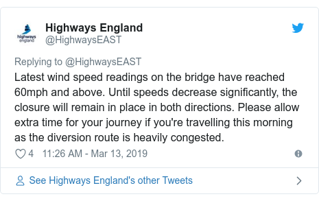 Twitter post by @HighwaysEAST: Latest wind speed readings on the bridge have reached 60mph and above. Until speeds decrease significantly, the closure will remain in place in both directions. Please allow extra time for your journey if you're travelling this morning as the diversion route is heavily congested.
