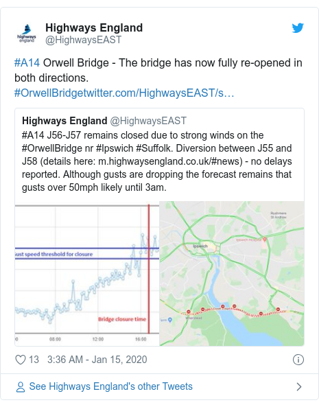 Twitter post by @HighwaysEAST: #A14 Orwell Bridge - The bridge has now fully re-opened in both directions. #OrwellBridge
