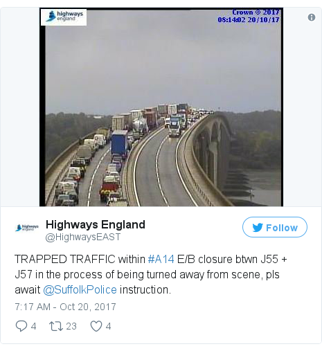 Twitter post by @HighwaysEAST: TRAPPED TRAFFIC within #A14 E/B closure btwn J55 + J57 in the process of being turned away from scene, pls await @SuffolkPolice instruction.