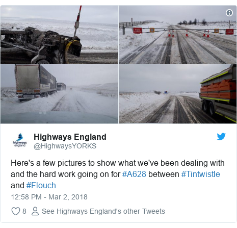 Twitter post by @HighwaysYORKS: Here's a few pictures to show what we've been dealing with and the hard work going on for #A628 between #Tintwistle and #Flouch