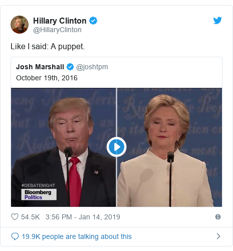 Twitter post by @HillaryClinton: Like I said  A puppet.