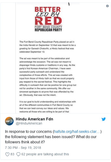 Twitter post by @HinduAmerican: In response to our concerns () the following statement has been issued? What do our followers think about it?