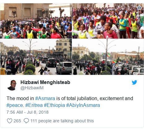 Twitter post by @HizbawiM: The mood in #Asmara is of total jubilation, excitement and #peace. #Eritrea #Ethiopia #AbiyInAsmara