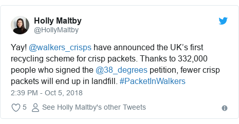 Twitter post by @HollyMaltby: Yay! @walkers_crisps have announced the UK's first recycling scheme for crisp packets. Thanks to 332,000 people who signed the @38_degrees petition, fewer crisp packets will end up in landfill. #PacketInWalkers