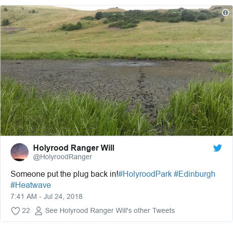 Twitter post by @HolyroodRanger: Someone put the plug back in!#HolyroodPark #Edinburgh #Heatwave