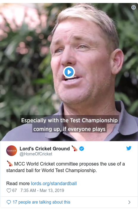 Twitter හි @HomeOfCricket කළ පළකිරීම: 🏏 MCC World Cricket committee proposes the use of a standard ball for World Test Championship.Read more
