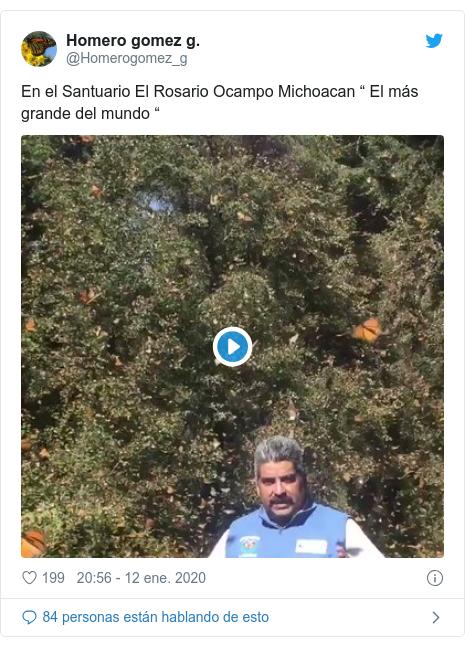 """Publicación de Twitter por @Homerogomez_g: En el Santuario El Rosario Ocampo Michoacan """" El más grande del mundo """""""