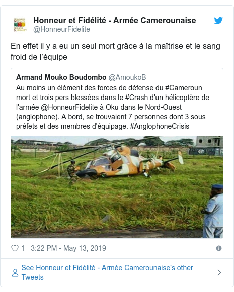 Military helicopter don crash kill one pesin for Northwest Cameroon