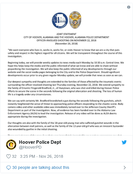 Twitter post by @HooverPD: