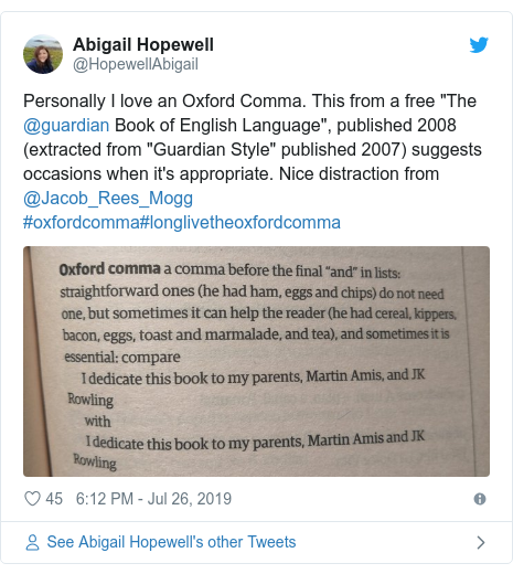 "Twitter post by @HopewellAbigail: Personally I love an Oxford Comma. This from a free ""The @guardian Book of English Language"", published 2008 (extracted from ""Guardian Style"" published 2007) suggests occasions when it's appropriate. Nice distraction from @Jacob_Rees_Mogg #oxfordcomma#longlivetheoxfordcomma"